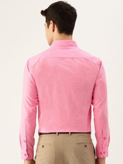 Sojanya (Since 1958), Mens Cotton Linen Pink Solid Formal Shirt