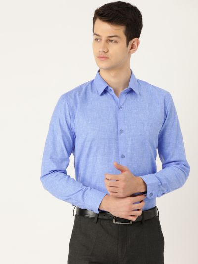 Sojanya (Since 1958), Mens Cotton Linen Blue Solid Formal Shirt
