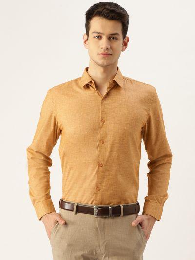 Sojanya (Since 1958), Mens Cotton Linen Mustard Solid Formal Shirt