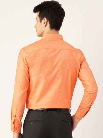 Sojanya (Since 1958), Mens Cotton Linen Orange Solid Formal Shirt