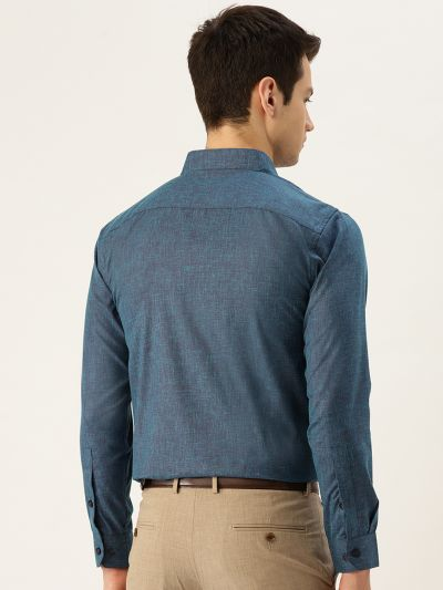 Sojanya (Since 1958), Mens Cotton Linen Teal Blue Solid Formal Shirt