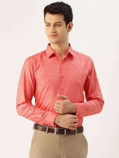 Sojanya (Since 1958), Mens Cotton Linen Coral Solid Formal Shirt