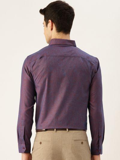 Sojanya (Since 1958), Mens Cotton Linen Dark Purple Solid Formal Shirt