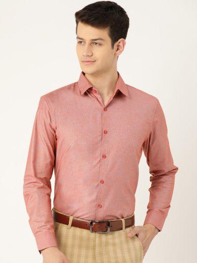 Sojanya (Since 1958), Mens Cotton Linen Red & Grey Solid Formal Shirt