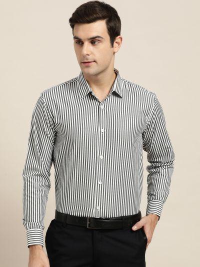 Sojanya (Since 1958), Men's Cotton Blend Black & White Striped Formal Shirt