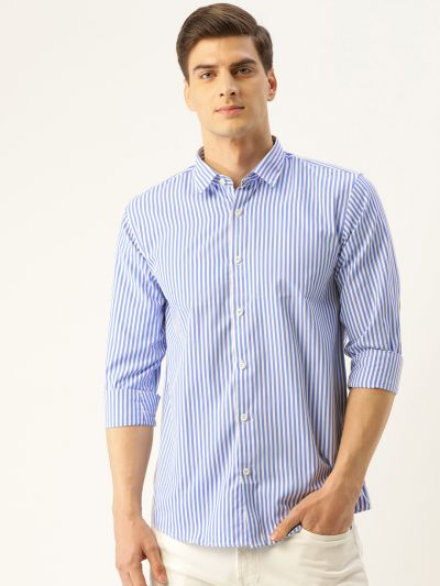 Sojanya (Since 1958), Men's Cotton Blue & White Striped Casual Shirt