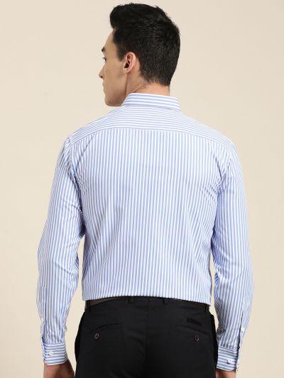 Sojanya (Since 1958), Men's Cotton Blend Blue & White Striped Formal Shirt