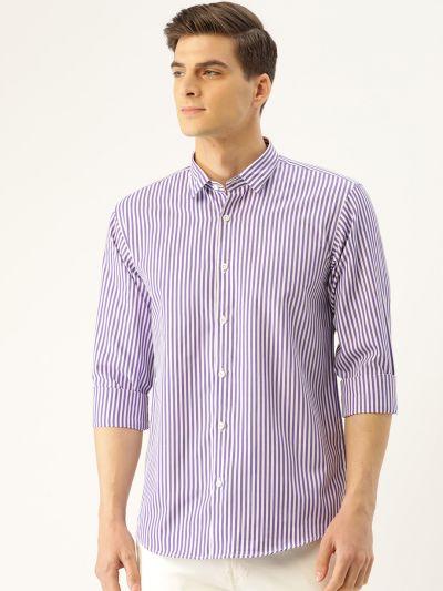 Sojanya (Since 1958), Men's Cotton Purple & White Striped Casual Shirt