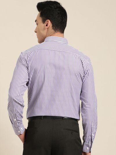 Sojanya (Since 1958), Men's Cotton Blend Purple & White Striped Formal Shirt