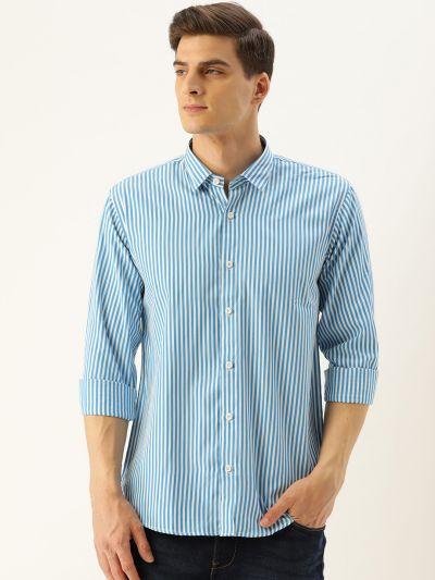 Sojanya (Since 1958), Men's Cotton Teal Blue & White Striped Casual Shirt
