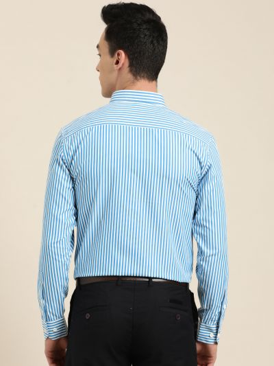Sojanya (Since 1958), Men's Cotton Blend Teal Blue & White Striped Formal Shirt