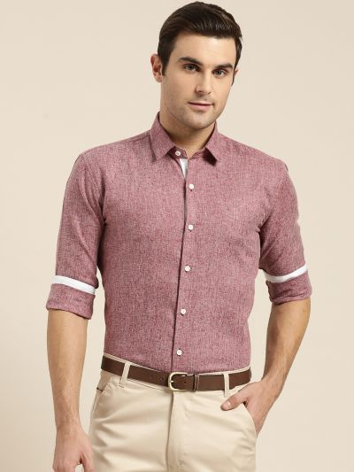 Sojanya (Since 1958), Men's Cotton Linen Maroon Formal Shirt