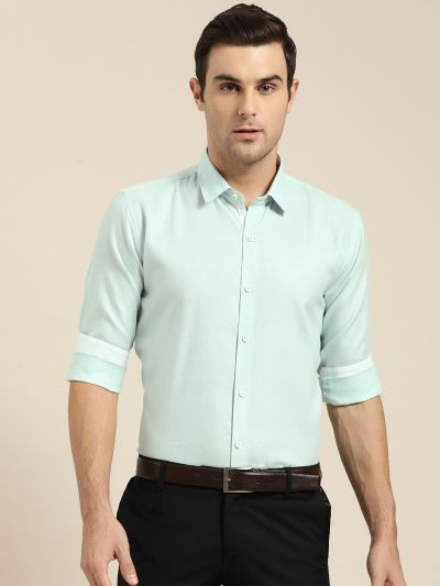 Sojanya (Since 1958), Men's Cotton Linen Sea Green Formal Shirt
