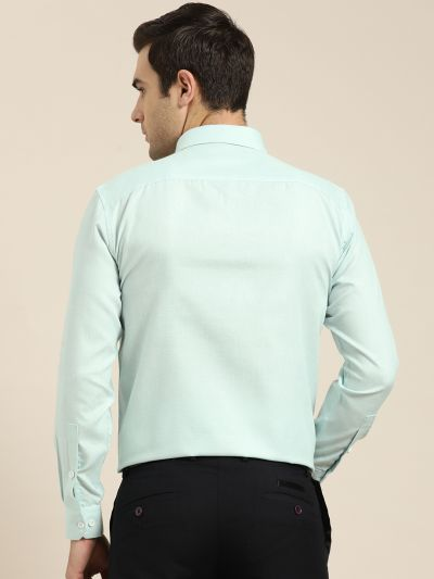 Sojanya (Since 1958), Men's Cotton Linen Sea Green Formal Shirt
