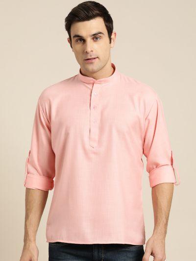 Sojanya (Since 1958), Men's Cotton Pink Solid Short Kurta
