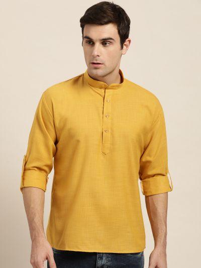 Sojanya (Since 1958), Men's Cotton Mustard Solid Short Kurta