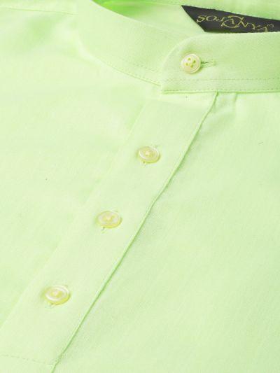 Sojanya (Since 1958), Men's Cotton Green Solid Short Kurta