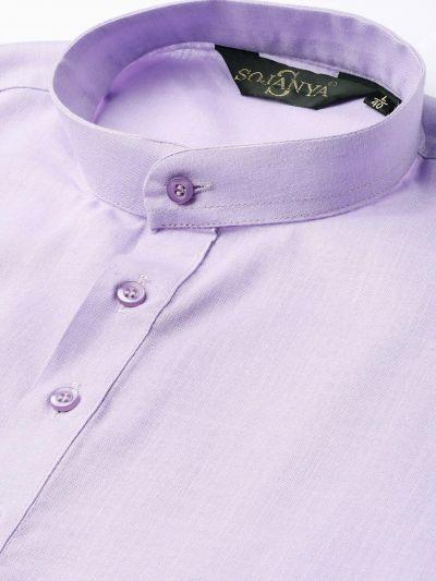 Sojanya (Since 1958), Men's Cotton Purple Solid Short Kurta