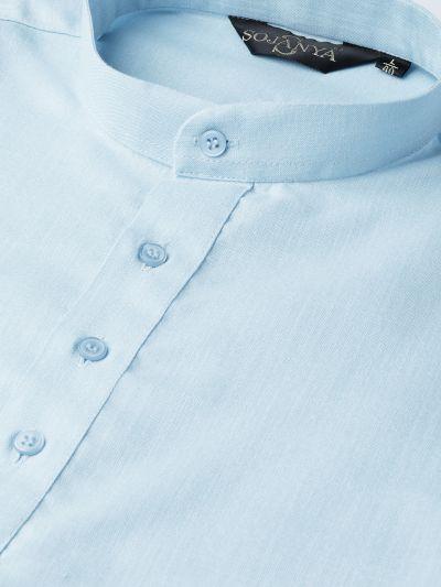 Sojanya (Since 1958), Men's Cotton Cream Solid Short Kurta