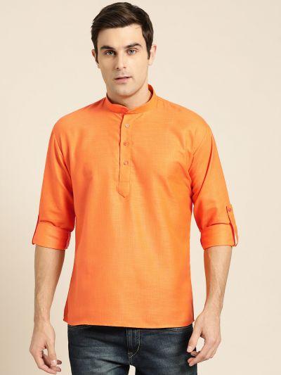 Sojanya (Since 1958), Men's Cotton Orange Solid Short Kurta