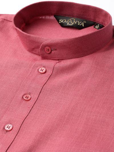 Sojanya (Since 1958), Men's Cotton Dark Coral Solid Short Kurta