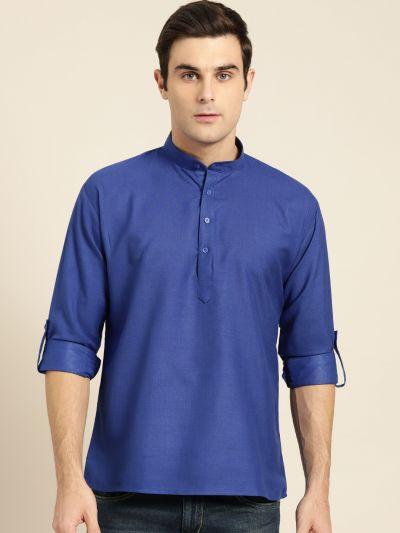 Sojanya (Since 1958), Men's Cotton Royal Blue Solid Short Kurta