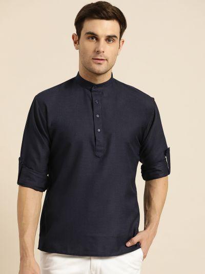 Sojanya (Since 1958), Men's Cotton Navy Blue Solid Short Kurta