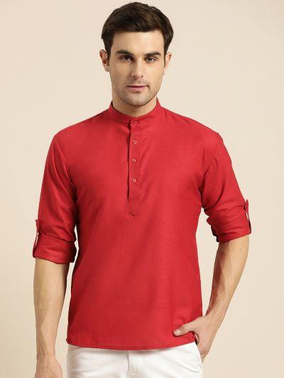 Sojanya (Since 1958), Men's Cotton Red Solid Short Kurta