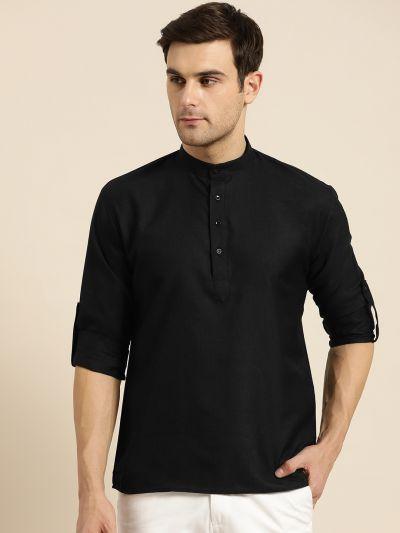 Sojanya (Since 1958), Men's Cotton Black Solid Short Kurta