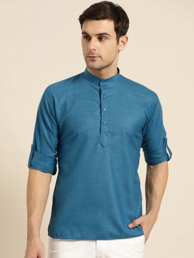 Sojanya (Since 1958), Men's Cotton Peacock Blue Solid Short Kurta