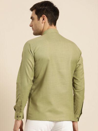 Sojanya (Since 1958), Men's Cotton Pista Green Solid Short Kurta