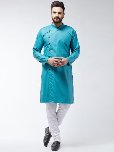 Sojanya (Since 1958) Men's Cotton Peacock Blue Solid Kurta & White Churidar Pyjama Set