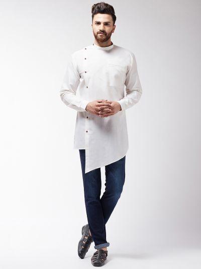 Sojanya (Since 1958), Men's Cotton Blend Asymmetric Off White Short Kurta