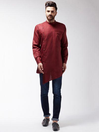 Sojanya (Since 1958), Men's Cotton Blend Asymmetric Maroon Short Kurta
