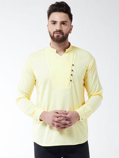 Sojanya (Since 1958) Men's Cotton Lemon Yellow designer Short Kurta