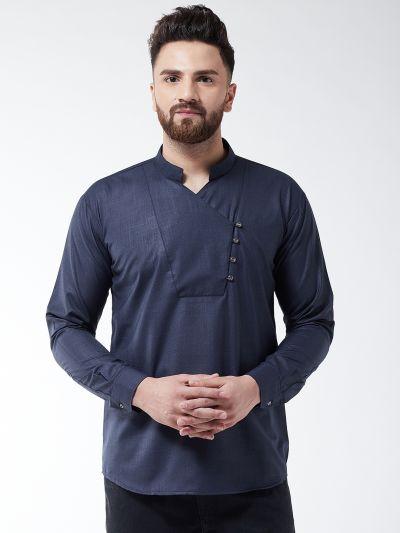 Sojanya (Since 1958) Men's Cotton Navy Blue designer Short Kurta