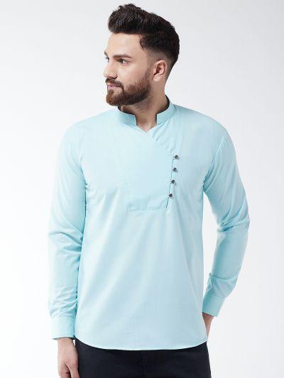 Sojanya (Since 1958) Men's Cotton Sky Blue designer Short Kurta