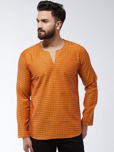 Sojanya (Since 1958) Men's Cotton Copper & Mustard Check Short Kurta