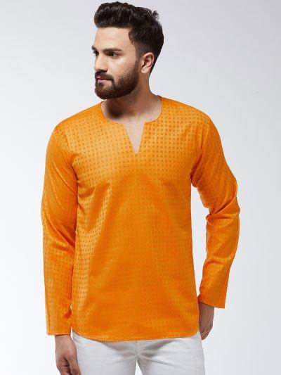 Sojanya (Since 1958) Men's Cotton Orange Check Short Kurta