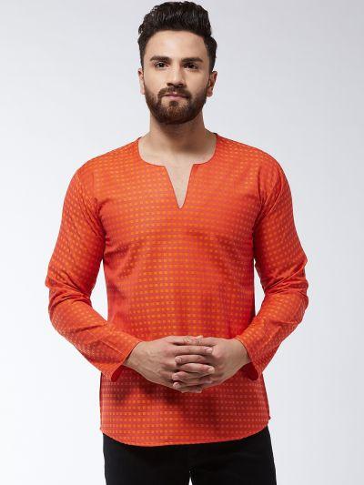 Sojanya (Since 1958) Men's Cotton Rust & Orange Check Short Kurta