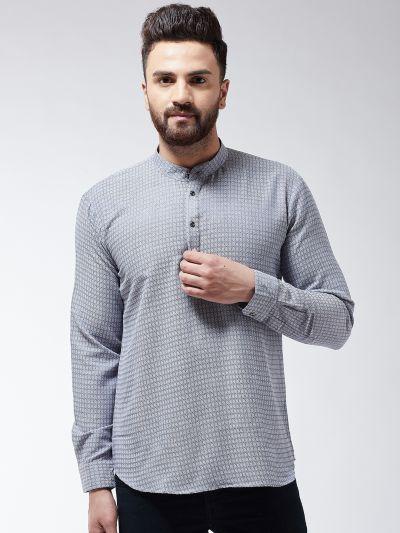 Sojanya (Since 1958), Men's Cotton Grey Self Design Short Kurta