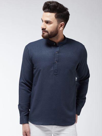 Sojanya (Since 1958), Men's Cotton Navy Blue Self Design Short Kurta