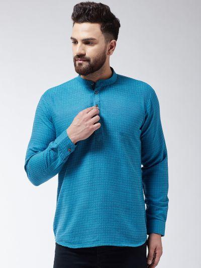 Sojanya (Since 1958), Men's Cotton Peacock Blue Self Design Short Kurta