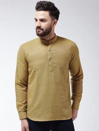 Sojanya (Since 1958), Men's Cotton Mustard Self Design Short Kurta
