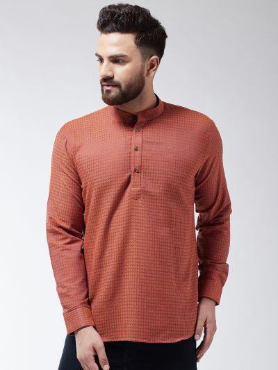 Sojanya (Since 1958), Men's Cotton Orange Self Design Short Kurta