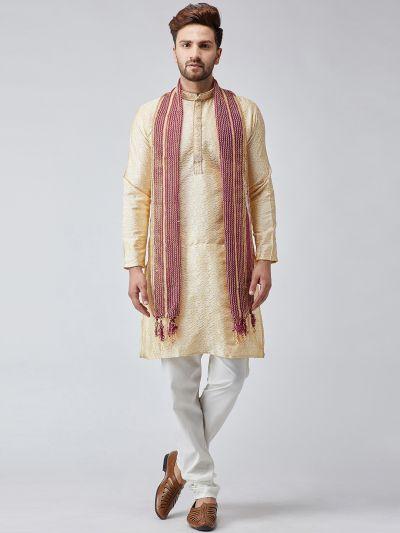 Sojanya (Since 1958), Men Maroon amd Gold Velvet Embellished Dupatta