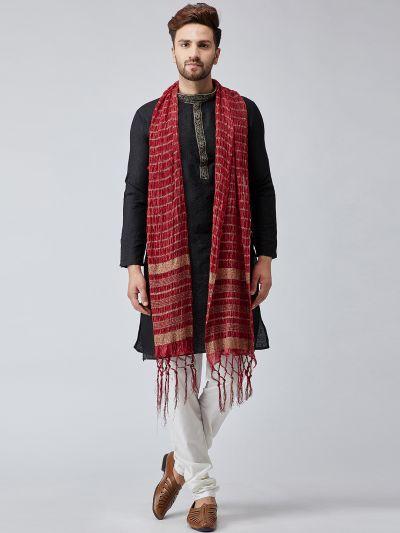 Sojanya (Since 1958), Men Maroon Velvet Embellished Dupatta