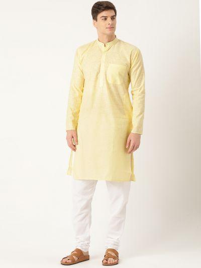 Sojanya (Since 1958), Men's Cotton Lemon Striped Kurta & White Churidar Pyjama Set