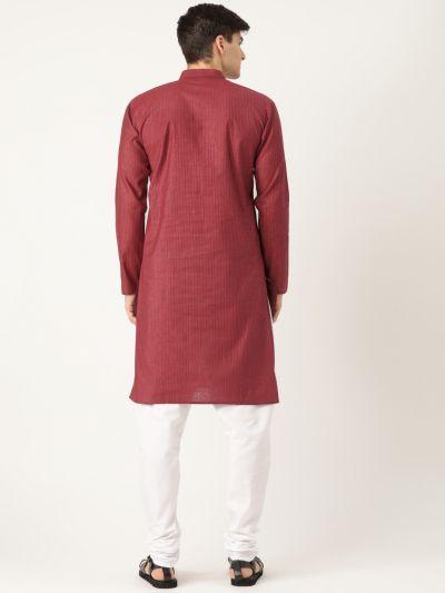 Sojanya (Since 1958), Men's Cotton Maroon Striped Kurta & White Churidar Pyjama Set