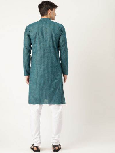 Sojanya (Since 1958), Men's Cotton Teal Blue Striped Kurta & White Churidar Pyjama Set
